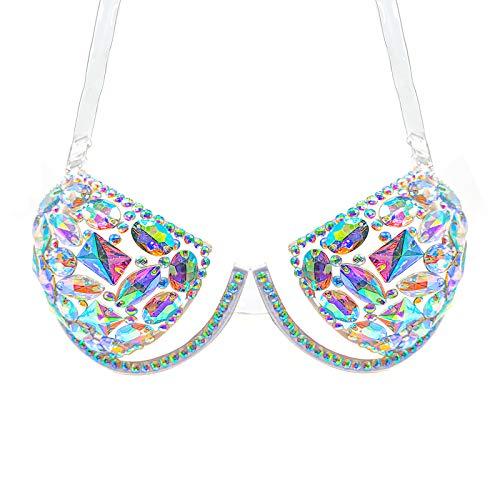 MineSign Gems Glitter Bra Clear Strap Sexy Top Bra Fashion Women Acrylic Jewels Bra for Party Wedding Costume Cup A-B