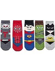 5 pares de calcetines de algodón para niños con diseño de dibujos animados ocasionales, suaves