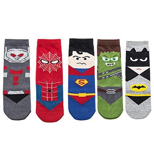 5 pares de calcetines de algodón para niños y niños, diseño de dibujos animados ocasionales, suaves (tamaño: 1-5 años, color: A)