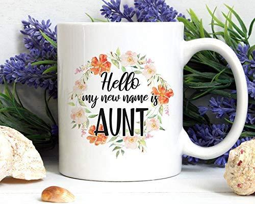 Eastlif Hola mi Nuevo Nombre es Taza de tía, Regalo de tía, nuevos Regalos de tía, Taza de tía, Regalo de tía, revelación de bebé, Anuncio de bebé