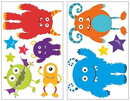 Samunshi® 11-teiliges Monster Wandtattoo Set Kinderzimmer Babyzimmer in 5 Größen (2x16x26cm Mehrfarbig)