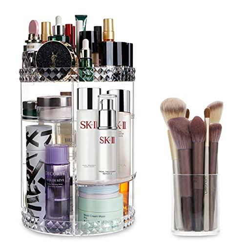 OurWarm Organizer per trucchi in acrilico con porta pennelli, 360 pezzi, trasparente, per cosmetici, cosmetici, cosmetici, per Dresser, bagno, camera da letto, bianco