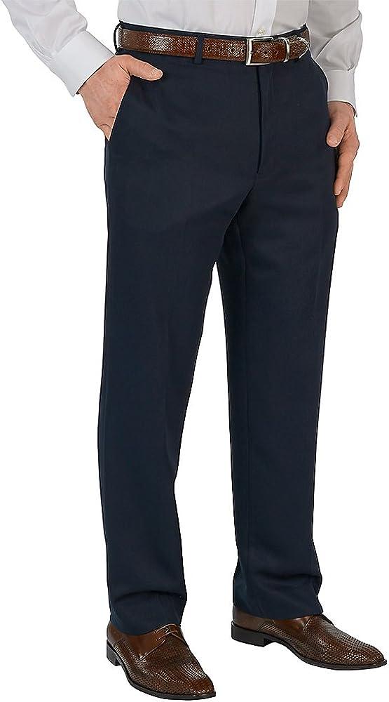 Paul Fredrick Men's Microfiber Solid Flat Front Pants