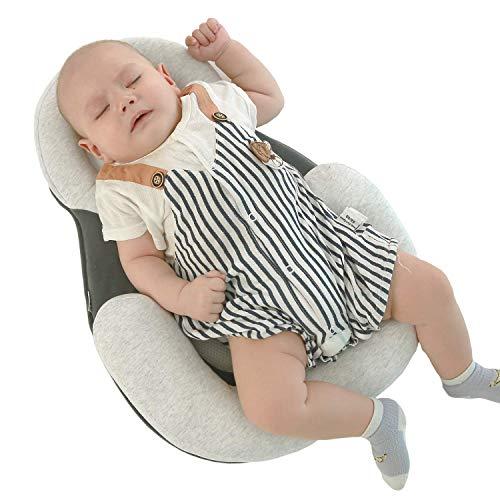 Anti-Kopf-Seitenschlafkissen für Babys, tragbares, weiches, atmungsaktives Kopfformkissen für Babys, Formkissen für Babys für 0-12 Monate (grau)