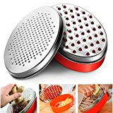Cheese Grater Lemon Zester with Food Storage Container, Perfect For Hard Parmesan Or Soft Cheddar Cheeses, Ginger, Vegetables, Citrus, Butter, Chocolate & Nutmeg, Box Grater (Red)
