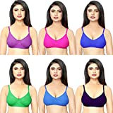DeVry Women's Cotton Mix Hosiery Non-Padded Bra (Multicolour, 34) - Pack of 6 Pieces