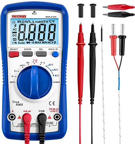 Etekcity Professional Digital Multimeter A1000, TRMS 6000 Counts Manual Auto Ranging, Measures Voltage, Current, Resistance, Frequency, Continuity, Capacitance, Diode Test, Temperature