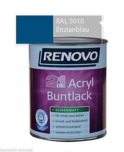 Acryl-Buntlack 2-in-1 750 ml RAL 5010 Enzianblau seidenmatt Renovo