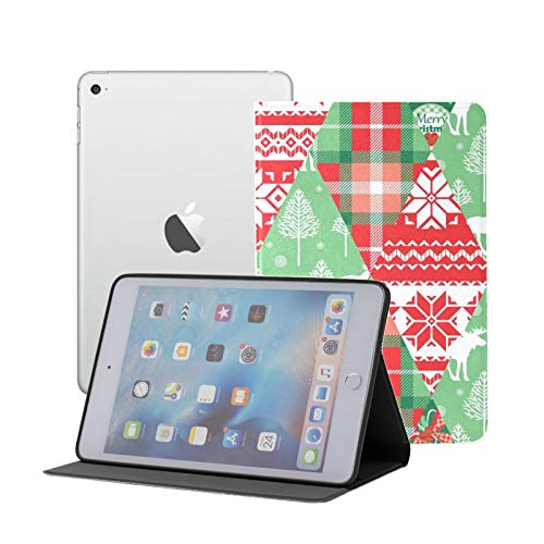 iPad Mini 1/2/3 Case - 360 Degree Rotating Stand Smart Cover Case with Auto Sleep Wake Feature,Christmas New Year Patchwork