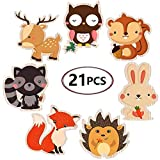 DIY set includes 21 extra-large animal shaped cut outs,7 different animal shapes that coordinate with the woodland creatures party theme! Let your diy imagination run wild by using them for cake toppers,banners,nursery decorations,wall decor, table c...