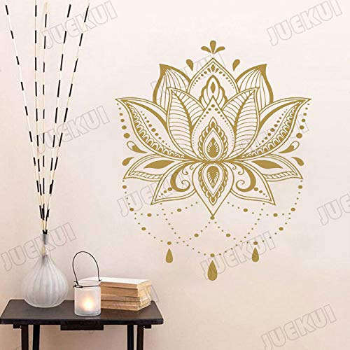 Mandala colgante de loto sala de yoga etiqueta de la pared vinilo pared calcomanía sala de estar decoración del hogar arte mural