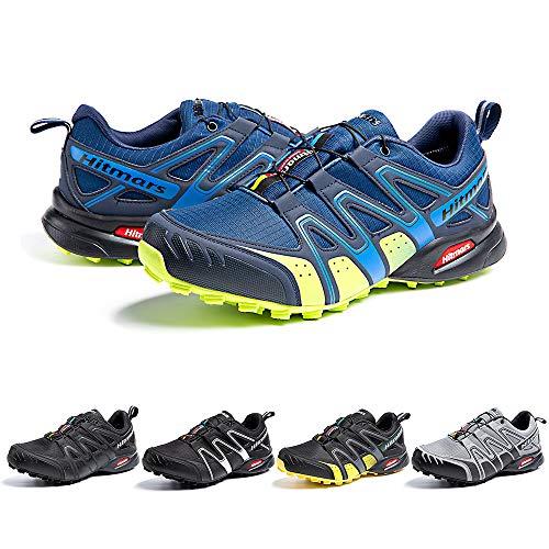 Zapatillas De Trail Running Impermeables para Hombre Mujer Zapatillas Trekking Zapatos Senderismo Deporte Azul Verde Talla42