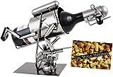 BRUBAKER Weinflaschenhalter Flaschenständer Taucher mit Harpune aus Metall mit Grußkarte für Weingeschenk