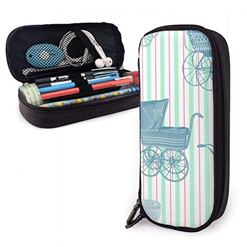 Vintage Baby Strollers PU Leather Pencil Case,Durable Students Stationery Organizers with Double Zipper Elastic 1.5in X 3.5 X 8 in