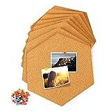 Tablón de anuncios de Fitery DIY con chinchetas, 8 unidades, tablero de corcho hexagonal, autoadhesivo para colgar fotos, objetivos.