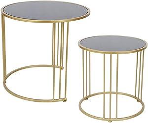 Ensemble Table Basse Nesting Accent, Dessus en Verre décoratif, Bout, Ensemble de 2 Tables gigognes Rondes, doré