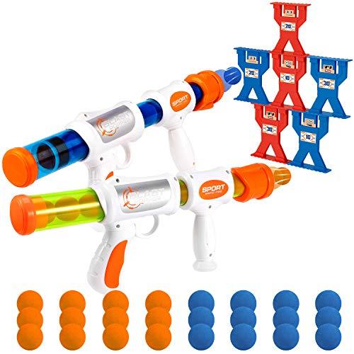 X TOYZ Shooting Games Toy Foam Blaster Guns for Kids, 2 Player Popper Air Toy Guns with 6 Shootings...