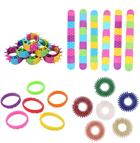 18 Pieces Fidget Bracelets and Rings Set, Sensory Fidget Toys Including 6 Slap Bracelets, 6 Hedgehog Bracelet, 6 Fidget Rings for Health Blood Circulation Relief Pressure