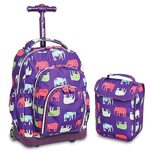 J World New York Kids' Lollipop Rolling Backpack & Lunch Bag Set, Elephant, One Size