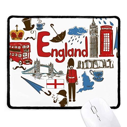 DIYthinker England-Liebe-Herz-BRITISCHE Staatsflagge Griffige Mousepad Spiel Büro Schwarz Titched Kante Geschenk