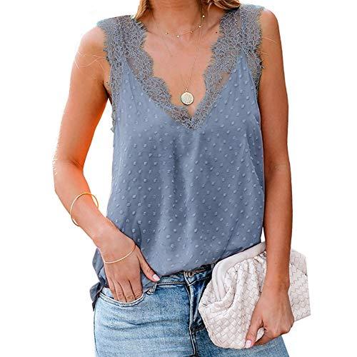 DISSA Camiseta de tirantes para mujer con cordones S2090-1 Azul Cielo (256485) S