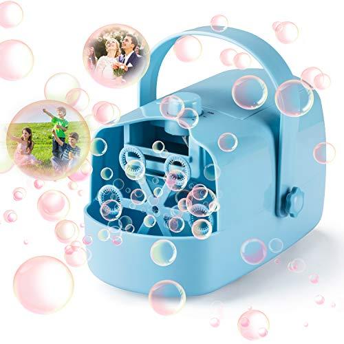 LDB Máquina de Burbujas Infantil,Máquina Portátil de Pompas de Jabón Niños Fiesta Infantil Escenario Bodas al Aire Libre en Interiores Perfecto Regalo (Azul)