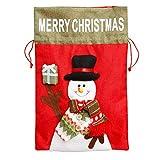 Gxklmg 3 Piezas de Grandes Bolsas cordón, 3 diseños muñeco de Nieve, Santa Claus y Alces, muñeco de Nieve, Ropa Durable Bolsa de Navidad de Regalo de Almacenamiento, 10.6'x16.1