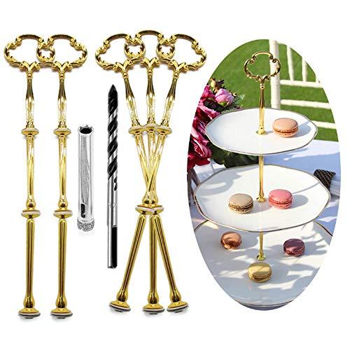 Anyasen etageren stangen Set Gold Etagere bausatz Etagere etagen etageren stäbe Etagere bausatz Stange für Etagere metallstangen für Etagere (Blume, Gold, 5 Pack)