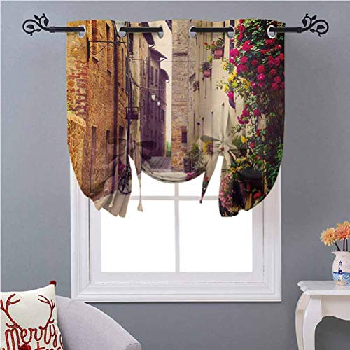 Aishare Store Kitchen Curtain Valance Street in Pienza Tuscany Italy with Hanging Basket Plants Flowers Bicycles Picture 45 Inches Long Energy Saving Tie Up Shade Blind Bathroom Window Red Green