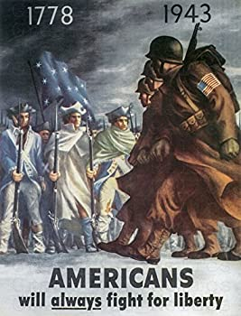 UpCrafts Studio Design WW2 Propaganda Poster - Americans Will Always Fight for Liberty - WWII US American Posters Replica Military Wall Art Decor  11.7x16.5