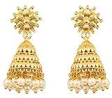 Touchstone Indian bollywood bahubali fama étnico encanto real diseñador joyas pendientes de araña colgados con perlas de imitación para mujer Blanco