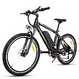 Bicicleta Eléctrica Ebike Mountain Bike, Bicicleta Eléctrica de 26' 250W con Batería de Litio de 36V 12.5Ah extraíble y Shimano 21 Velocidades