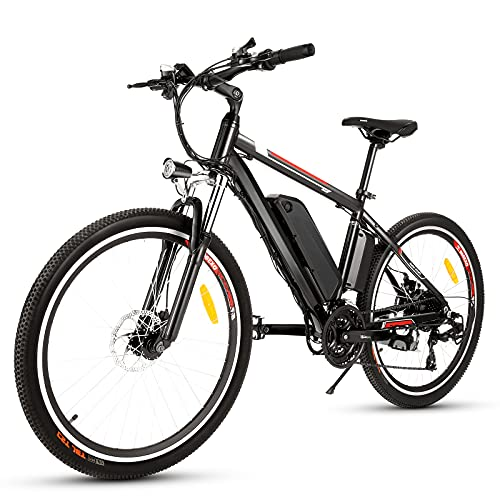 Bici Elettriche Mountain Bike 26' 250W Bicicletta elettrica con batteria al litio rimovibile da 36 V 12,5 Ah, Cambio a 21 velocità, 15,6 mph,Ricarica Chilometraggio Fino a 25 Miglia