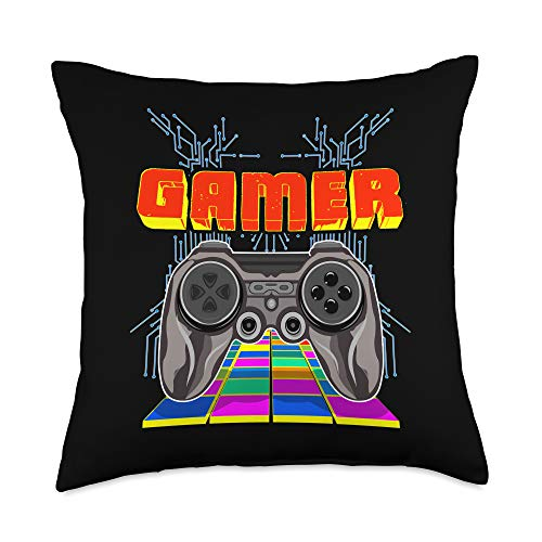 GAMER LIFE Gaming Controller Videogames Gamers Gift Playing Fun Throw Pillow, 18x18, Multicolor