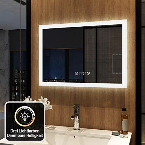 Meykoers Wandspiegel Badezimmerspiegel LED Badspiegel mit Beleuchtung 50x70cm Spiegel mit Touch-Schalter, Uhr, Beschlagfrei, Lichtspiegel Dimmbar Warmweiß/Kaltweiß/Neutral 3000K-6400K