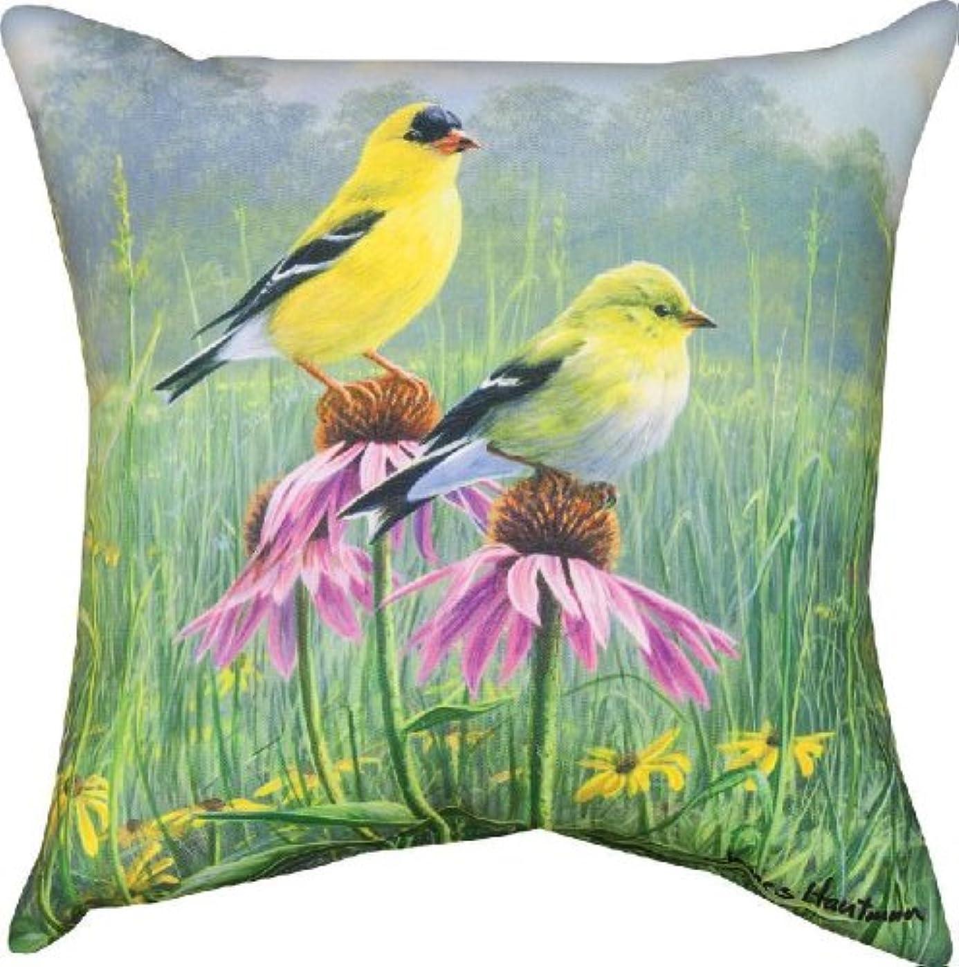 プレゼンテーション社員ハウジングManual Indoor/Outdoor Pillow, Yellow Finch Field X James Hautman, 18-Inch by Manual Woodworker [並行輸入品]