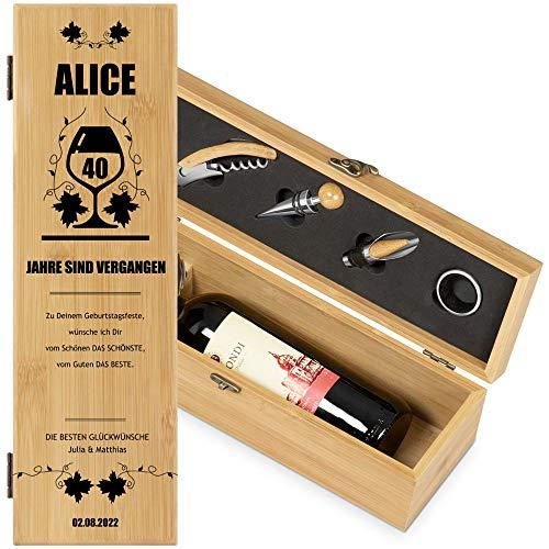 Murrano Weinbox für 0,7L Weinflasche - Wein Holzbox personalisiert + 4er Weinzubehör - Weinset Weinkiste - aus Bambus - Braun - Geschenk zum Geburtstag für Frauen - 40 Jahre