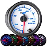 GlowShift White 7 Color 100 PSI Oil Pressure Gauge Kit - Includes...