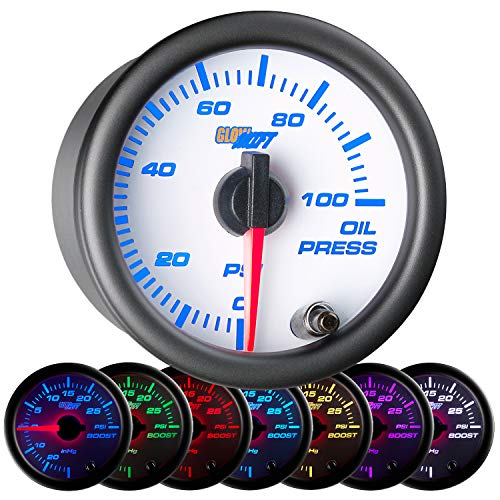 GlowShift White 7 Color 100 PSI Oil Pressure Gauge Kit - Includes Electronic Sensor - White Dial - Clear Lens - for Car & Truck - 2-1 16  52mm