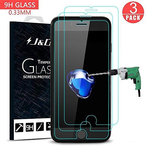 Preisvergleich Produktbild J&D Kompatibel für Apple iPhone SE 2020 / iPhone 8 / iPhone 7 Display Schutzglas,  3-Pack [Vorgespanntes Glas] [Nicht Ganze Deckung] Kristallklare Sicht in HD-Qualität für Apple iPhone 7
