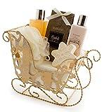 BRUBAKER Cosmetics 6-teiliges Bade und Körperpflege Set - Vanilla Christmas - Beauty Pflegeset Geschenkset Vanille Duft - mit Glitzer Schlitten Gold