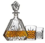 Whiskey Decanter Set with 2 Old Fashioned Whisky Glasses for Liquor Scotch Bourbon or Wine - Irish Cut Triangular