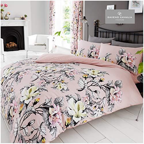 Gaveno Cavailia Floral Duvet Cover Quilt Set With Pillow Case, Reversible, Poly Cotton, Eden Pink, Double Bed Size, PolyCotton