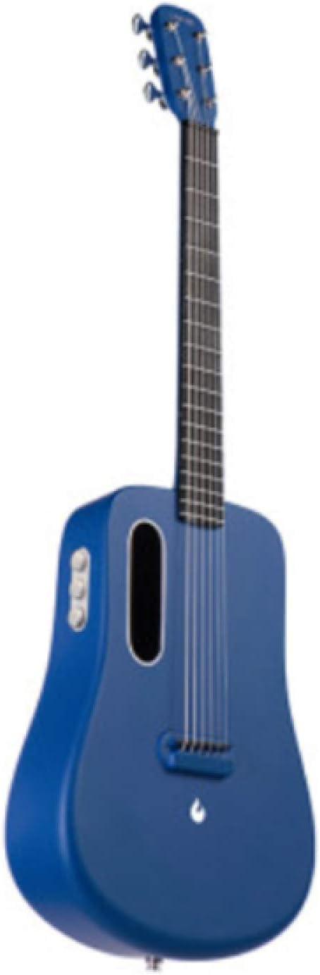 KEPOHK Guitarra Guitarra de fibra de carbono Instrumento eléctrico acústico 36 pulgadas Viajes LAVA MUSIC con bolsa/púa/Cable USB 36 pulgadas FreeBoostBlue