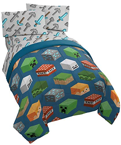 Jay Franco Minecraft Isometric 4 Piece Twin Bed Set - Includes Reversible Comforter & Sheet Set - Bedding Features Creeper - Super Soft Fade Resistant Polyester - (Official Minecraft Product)