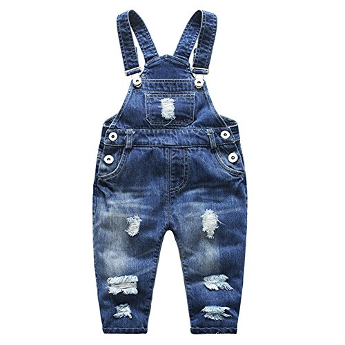 Kidscool Baby & Little Boys/Girls Stone Washed Ripped Soft Denim Overalls,Blue,6-12 Months