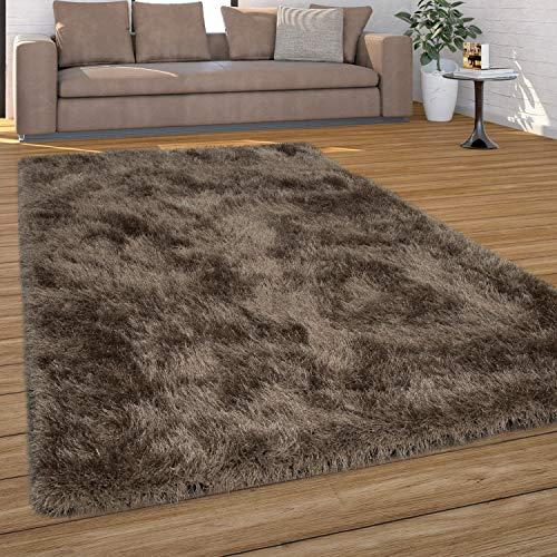 Paco Home Hochflor Teppich Wohnzimmer Shaggy, Pastell Farben, Weicher Soft Garn, Einfarbig, Grösse:160x230 cm, Farbe:Beige