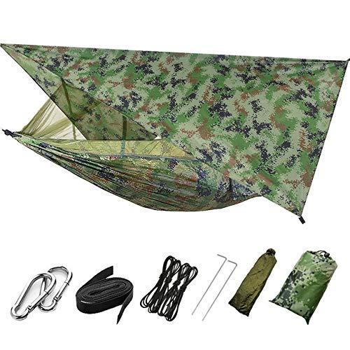 Hamaca al aire libre para los viajes de excursión Portátil de camping al aire libre hamaca con la red de mosquito de alta resistencia paracaídas Tela cama colgante Caza el oscilación ( Color : B )