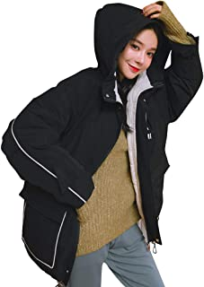 iHHAPY Ladies Winter Jacket Puffer Jacket Short Parka Hooded Jacket Solid Coat Thicken Jacket Loose Fit Coat with Pocket