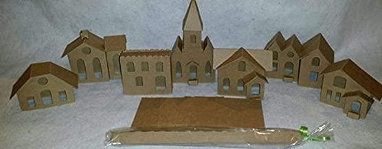 Vintage Style Putz Houses- Set of 6 Houses & 1 Church - DIY
